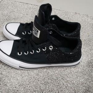 Black glitter converse all star. Size 7